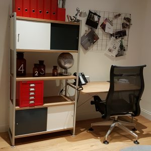 Bisley Home Office with red multidrawer