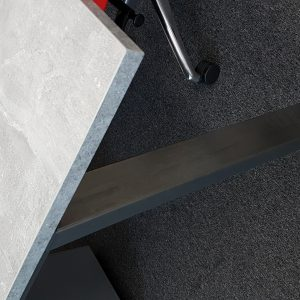 workbench in cement style finish with black steel legs