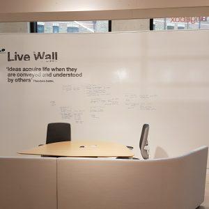 whiteboard wall in an office