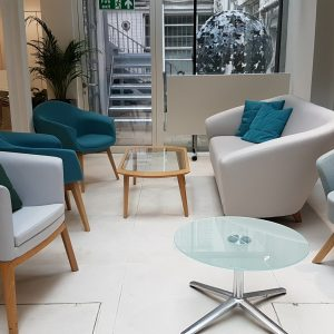 cool blue soft seating area