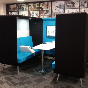 booth style meeting space with power and lights