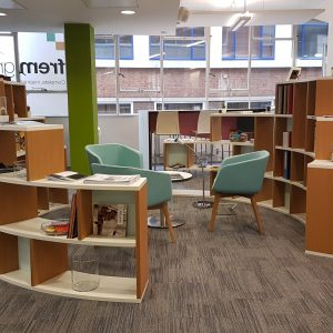 circular bookcase and reading space