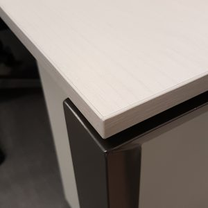 White wood work surface with graphite legs