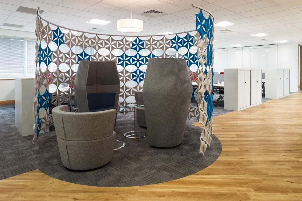 informal meeting space, high backed booth chairs with snowflake screen | Novex Solutions