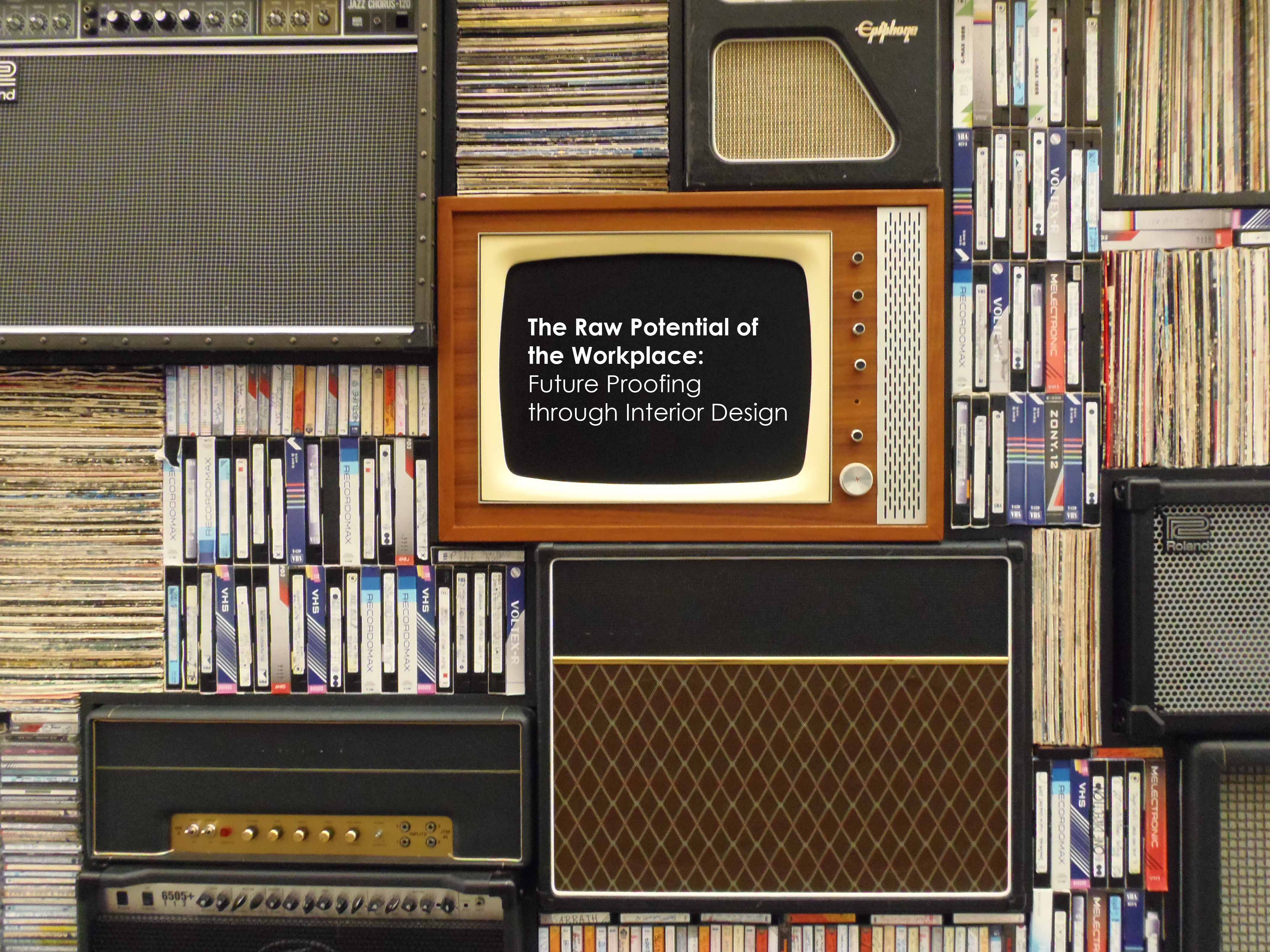 Old media & technology stacked up, interior design