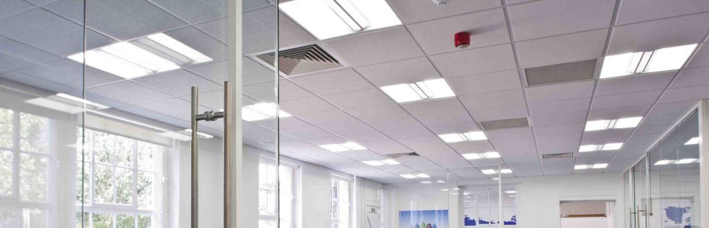 Typical office ceiling grid solution, 600x600 perforated acoustic tiles and light fittings