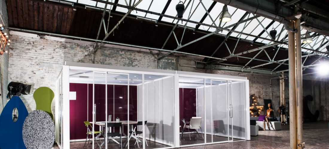 pop up meeting spaces for warehouse environments with Exposed Ceilings