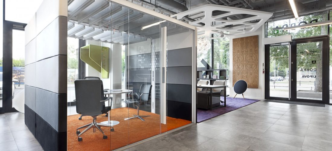 self efficient meeting space furniture item for spaces with Exposed Ceilings