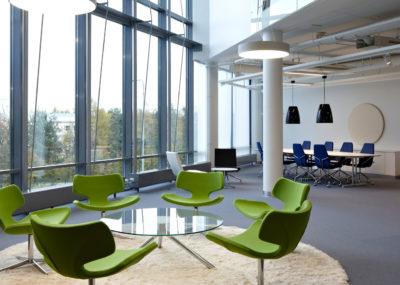 Kinnarps Office Furniture in an atrium, high ceiling environment